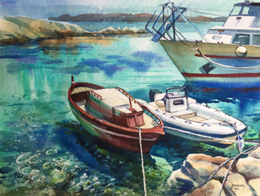 """Painting titled """"Boats on the island…"""" by Natalia Veyner, Original Art, Watercolor"""