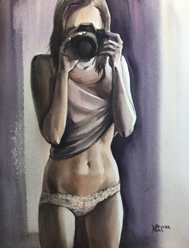 """Painting titled """"Girl with a camera.…"""" by Natalia Veyner, Original Art, Watercolor"""