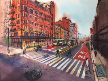 """Painting titled """"New York city, 5th…"""" by Natalia Veyner, Original Art, Watercolor"""