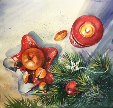 """Painting titled """"New Year. Christmas…"""" by Natalia Veyner, Original Art, Watercolor"""