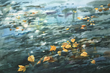 """Painting titled """"Autumn river. City…"""" by Natalia Veyner, Original Art, Watercolor"""