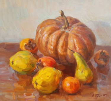 """Painting titled """"pumpkin and fruit"""" by Viacheslaw Pereta, Original Art, Oil"""