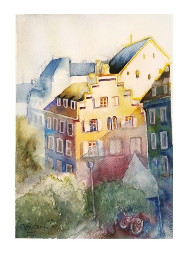 """Painting titled """"Downtown in the mor…"""" by Victoria Z, Original Art, Watercolor"""