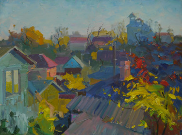 """Painting titled """"Roofs of Leskovitsa…"""" by Victor Onyshchenko, Original Art, Oil"""