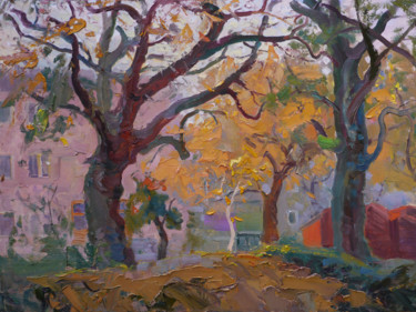 """Painting titled """"Trees on Tolstoy St…"""" by Victor Onyshchenko, Original Art, Oil Mounted on Stretcher frame"""