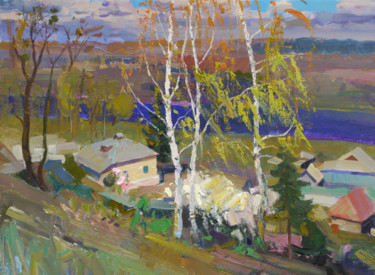 """Painting titled """"Birch trees in April"""" by Victor Onyshchenko, Original Art, Oil Mounted on Stretcher frame"""
