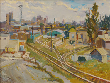 """Painting titled """"Old railroad"""" by Victor Onyshchenko, Original Art, Oil"""