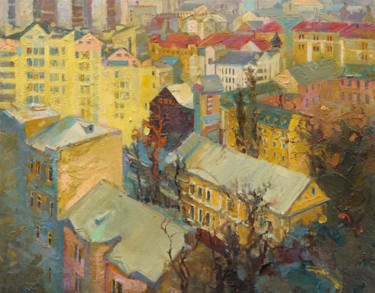 """Painting titled """"Podil. Kyiv"""" by Victor Onyshchenko, Original Art, Oil"""