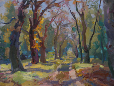 """Painting titled """"Alley in Kachanivka"""" by Victor Onyshchenko, Original Art, Oil"""
