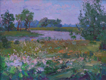 """Painting titled """"Summer meadow"""" by Victor Onyshchenko, Original Art, Oil"""