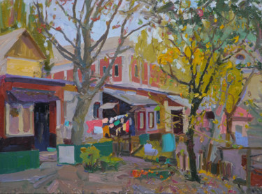 """Painting titled """"Courtyard near the…"""" by Victor Onyshchenko, Original Art, Oil"""