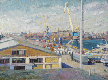 """Painting titled """"Port in Kyiv"""" by Victor Onyshchenko, Original Art, Oil"""