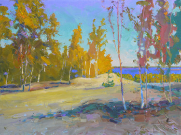"""Painting titled """"Autumn near the Dni…"""" by Victor Onyshchenko, Original Art, Oil"""