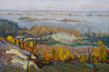 """Painting titled """"Autumn over the Dni…"""" by Victor Onyshchenko, Original Art, Oil"""