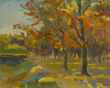 """Painting titled """"Autumn in the park"""" by Victor Onyshchenko, Original Art, Oil"""
