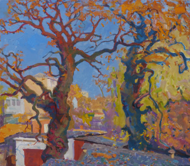 """Painting titled """"Oaks of my childhood"""" by Victor Onyshchenko, Original Art, Oil"""