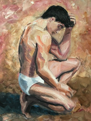 Men Painting, acrylic, expressionism, artwork by Victor G Ferrari