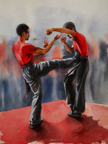 """Painting titled """"Shadowboxing"""" by Victoria Lyashenko, Original Art, Watercolor"""