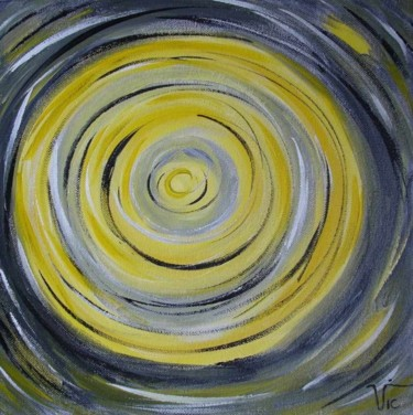 """Painting titled """"Yellow black white…"""" by Vic, Original Art, Oil"""