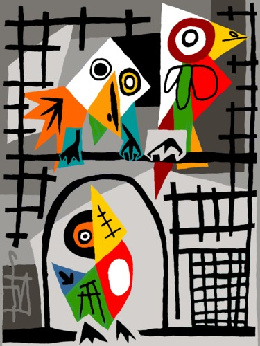 Bird Digital Arts, digital painting, expressionism, artwork by Franck Vidal