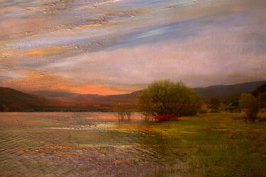 """Photography titled """"Sunset by the lake"""" by Viet Ha Tran, Original Art, Manipulated Photography"""