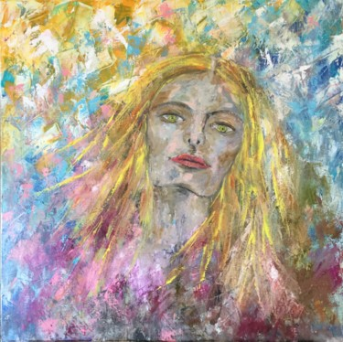 """Painting titled """"Girl with golden ey…"""" by Viktoria Ganhao, Original Art, Oil Mounted on Stretcher frame"""