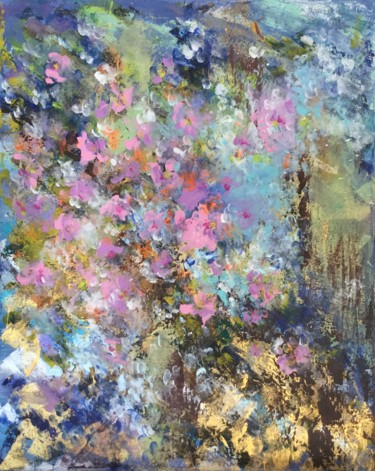 """Painting titled """"Floral Abstract 08.…"""" by Viktoria Ganhao, Original Art, Acrylic Mounted on Stretcher frame"""