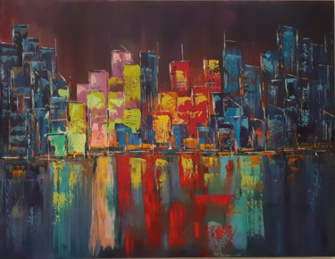 """Painting titled """"abstract-city 11-18"""" by Vincent Faus, Original Art, Acrylic"""