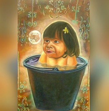 """Painting titled """"Childhood"""" by Flamekeeper, Original Art, Pastel Mounted on Stretcher frame"""