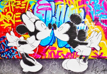 """Painting titled """"MINNIE AND MICKEY L…"""" by Vincent Bardou, Original Art, Acrylic Mounted on Stretcher frame"""