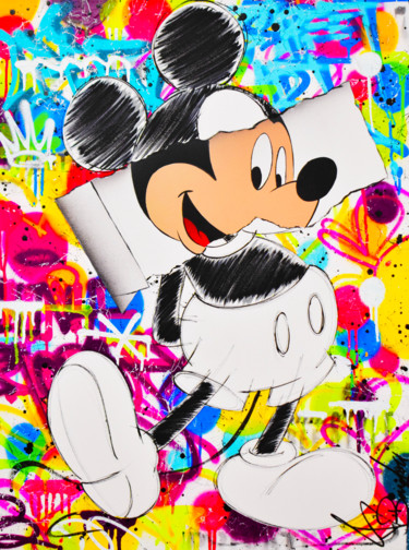 """Painting titled """"MICKEY PAPER"""" by Vincent Bardou, Original Art, Acrylic Mounted on Stretcher frame"""