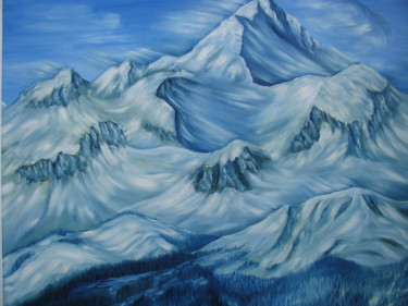 Mountainscape Painting, oil, artwork by Vinko Hlebs