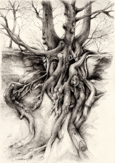 """Drawing titled """"Graceful tree that…"""" by Adriana Mueller, Original Art, Ink"""