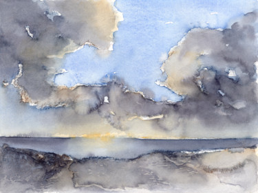 """Painting titled """"Clouds over the sea…"""" by Adriana Mueller, Original Art, Watercolor"""