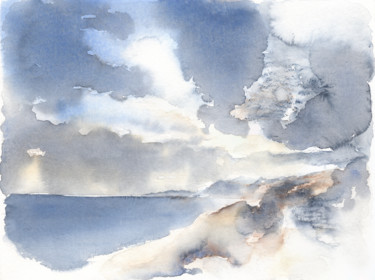 """Painting titled """"Cloudy sky and the…"""" by Adriana Mueller, Original Art, Watercolor"""