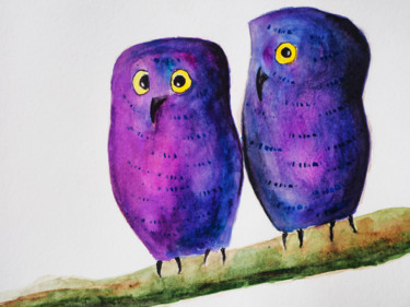 """Painting titled """"Two owls drawing by…"""" by Anton Vivchar, Original Art, Watercolor"""