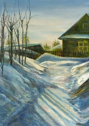 """Painting titled """"January"""" by Vladimir Volosov, Original Art, Oil Mounted on Stretcher frame"""
