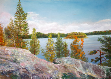 """Painting titled """"Somewhere in Karelia"""" by Vladimir Volosov, Original Art, Oil Mounted on Stretcher frame"""
