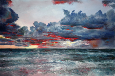 """Painting titled """"Evening on the Atla…"""" by Vladimir Volosov, Original Art, Oil Mounted on Stretcher frame"""