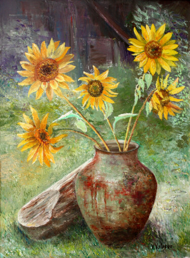 """Painting titled """"Sunflowers"""" by Vladimir Volosov, Original Art, Oil Mounted on Stretcher frame"""