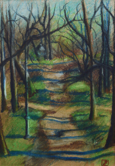 """Drawing titled """"Alley in the spring…"""" by Vladiy Zart, Original Art, Pastel"""