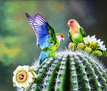 """Painting titled """"Parrots on a cactus"""" by Vladlena Chanysheva, Original Art, Oil Mounted on Cardboard"""