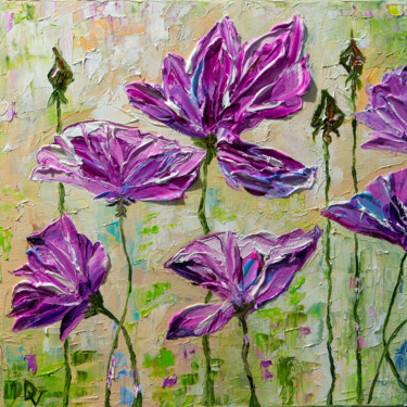 """Painting titled """"Purple flowers"""" by Vladyslav Durniev, Original Art, Oil Mounted on Stretcher frame"""