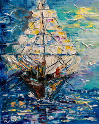 """Painting titled """"Sailing"""" by Vladyslav Durniev, Original Art, Oil Mounted on Stretcher frame"""