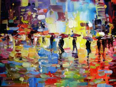 City Painting, acrylic, abstract, artwork by Vladimir