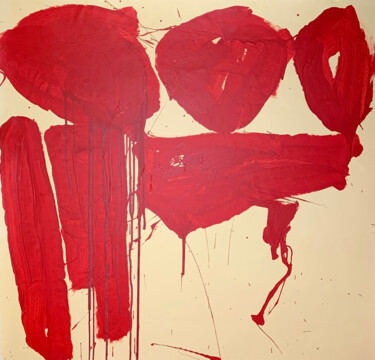 """Painting titled """"Simple red 16"""" by Viktoriia Dmytriv, Original Art, Acrylic"""