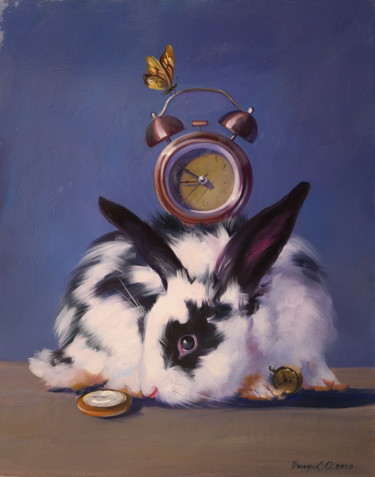 """Painting titled """"""""Rabbit and clock"""""""" by Elena And Gennady Vylusk (Goshiki), Original Art, Oil Mounted on Stretcher frame"""