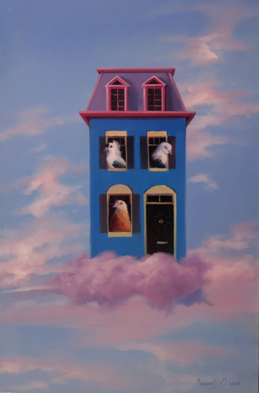 """Painting titled """"""""Dream House"""""""" by Elena And Gennady Vylusk (Goshiki), Original Art, Oil Mounted on Stretcher frame"""
