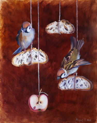 """Painting titled """"""""Curious"""""""" by Elena And Gennady Vylusk (Goshiki), Original Art, Oil Mounted on Stretcher frame"""