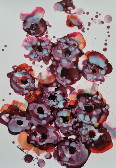 Flower Painting, ink, abstract, artwork by Wioletta Gancarz